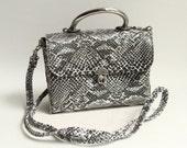 1990s purse / faux snakeskin bag / vegan vinyl 90s 1990s purse / metal trim bag / vintage bag