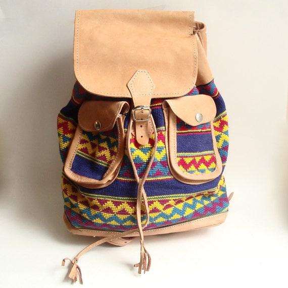 RESERVED for FLASHBAK - vintage southwestern bookbag / leather and cotton bookbag / 1990s knapsack