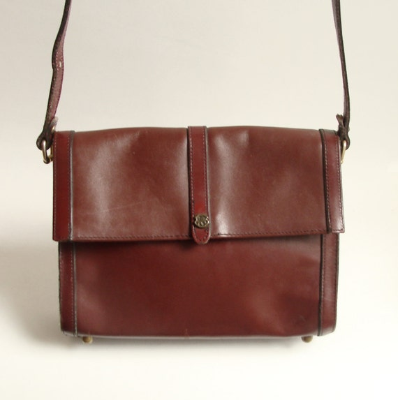 oxblood red leather purse / 1970s John Romain / leather shoulder bag