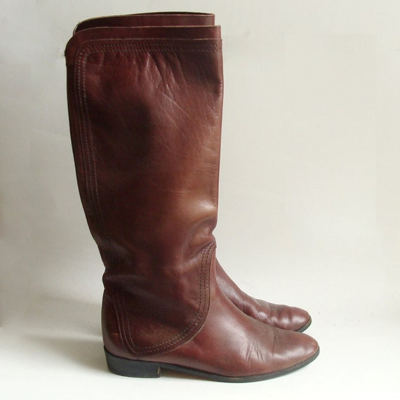 brown leather boots / boots 7.5 / pull on riding boots /