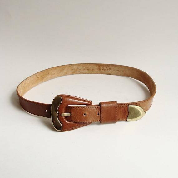 leather belt / brown leather waist belt / western style high waist belt / 1990s 90s belt / vintage belt