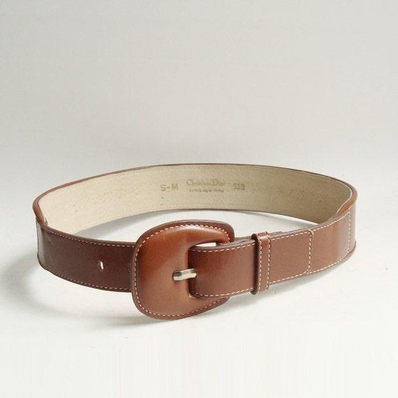 Christian Dior Belt / brown leather belt / designer belt / 80s 90s Dior belt / vintage belt