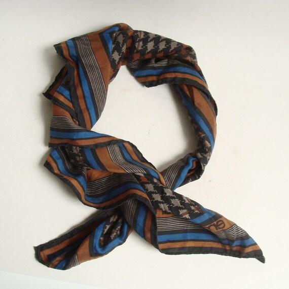 Emanuel Ungaro scarf / 80s 1980s designer silk scarf / brown blue black houndstooth / hand rolled edges / vintage scarf