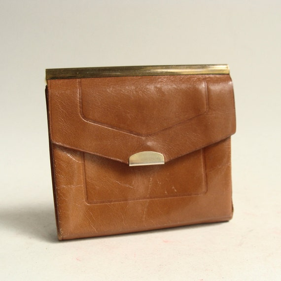 70s wallet / gold brown leather wallet / 1970s deadstock / 1970s wallet / vintage wallet