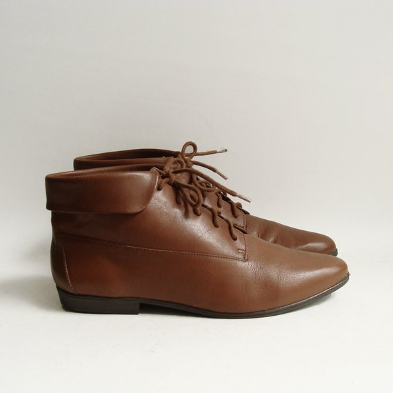 boots 5.5 / brown leather ankle boots / leather booties / lace up oxford boots / shoes size 5.5 / vintage shoes