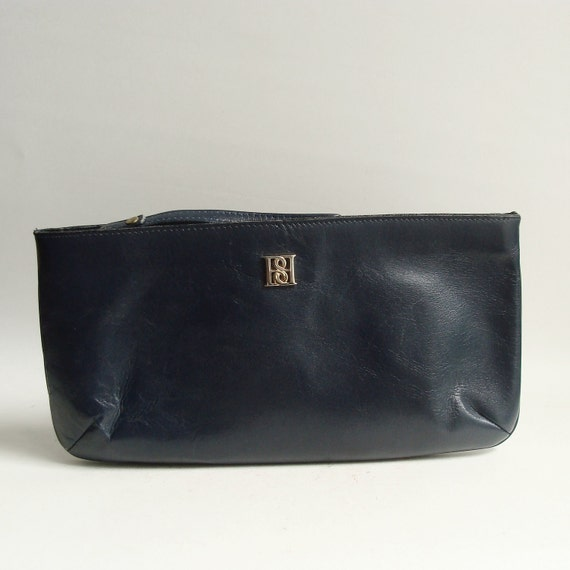 leather clutch / navy blue leather clutch / 80s 1980s wristlet clutch / vintage clutch purse