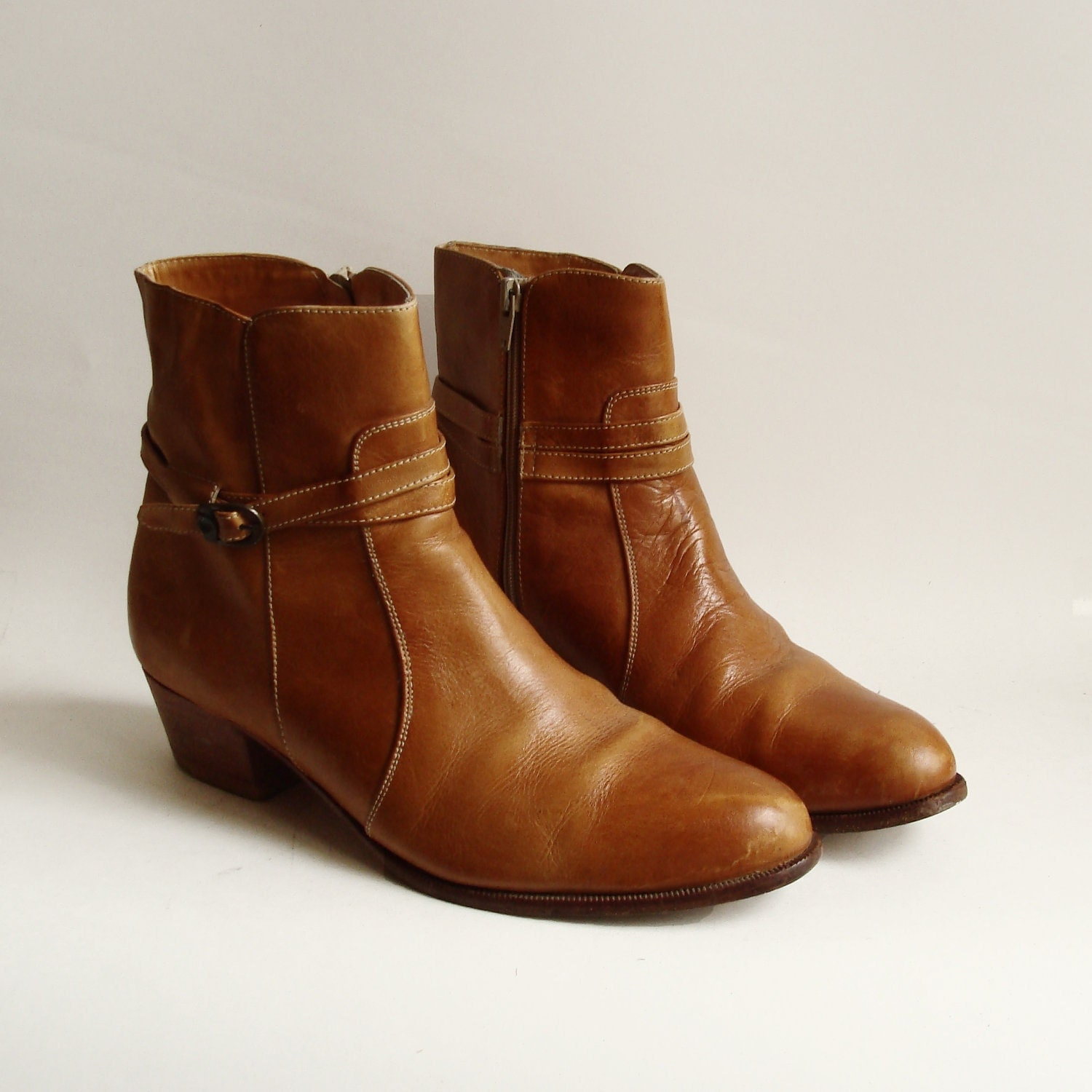 brown leather boots / 1970s leather ankle boots / boots men 9