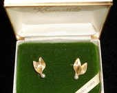 Krementz 14K. Gold Overlay Cultured Pearls Earrings. Mint Condition. Original Box and Paper. Hard to find.