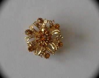 Flower Brooch with Citrine Color  Rhinestones.