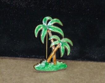 40's-50's Enameled Palm Tree Pin/ Brooch