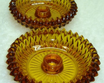 Vintage Amber Diamond Point Candle Holder set of two-Indiana Glass-Tiara