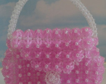 Lucite Beaded Pink Handbag. 1970s-1980s