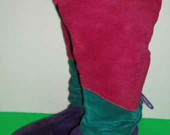 Very Cool Vintage Multi-color Suede Leather Boots. Knee High. Size 7M.