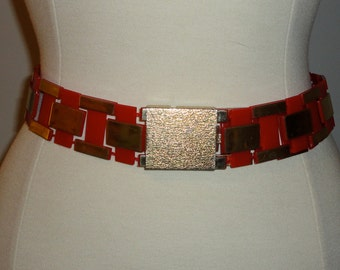 1970s Red and Gold Lucite Belt with Gold Tone Metal Buckle