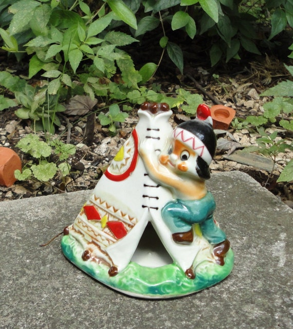 Made in Occupied Japan Ceramic Tepee with Indian Boy.