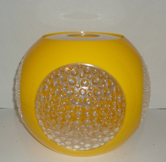 Reserved for Suzee. 1970's Round Yellow Plastic Lamp. Ready to assemble
