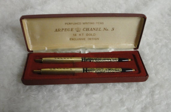 Arpege. Chanel No.5 Perfumed Writing Pens. Set of two in box