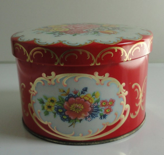 Bright Red Daher Container with  Flowers