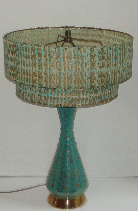 super cool 1950 39 s turquoise and gold lamp with by cosasraras. Black Bedroom Furniture Sets. Home Design Ideas