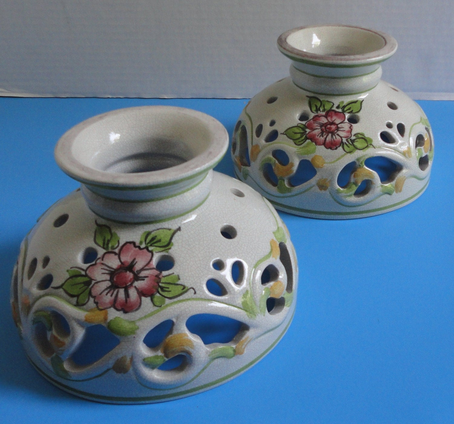 Hand Painted Lamp Shades: Hand Painted Italian Ceramic Lamp Shades. Set Of 2 By