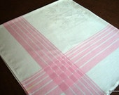 Vintage Damask Tablecloth w/Pink Striped Border & Flower Basket Pattern-48X52