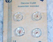 4 Crystal Vintage Buttons on Card  Germany