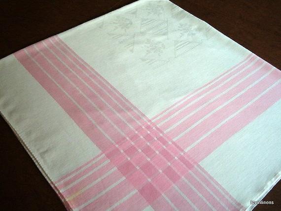 Vintage Damask Tablecloth w/Pink Striped Border & Flower Basket Pattern-48X52