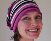 Best Selling Pet Hat  - Eco Friendly - Fuchsia Pink Black and White Striped Knit - PET375