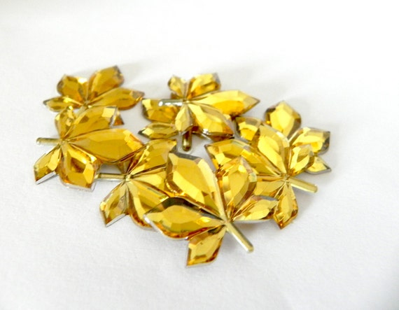 Yellow Leaves rhinestone cabochon - Dollar Sale