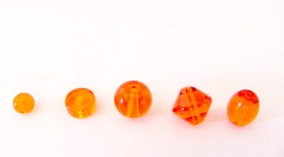 Orange assorted glass beads - REDUCED