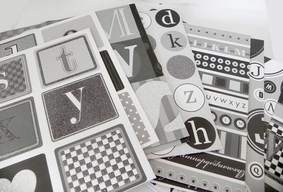 Alphabet black and white glittered scrapbook cardstock 6x6 - REDUCED