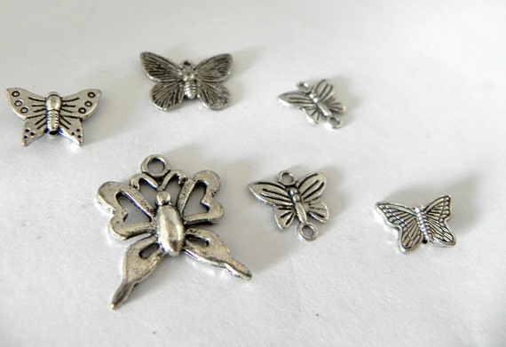 Butterflies silver charms