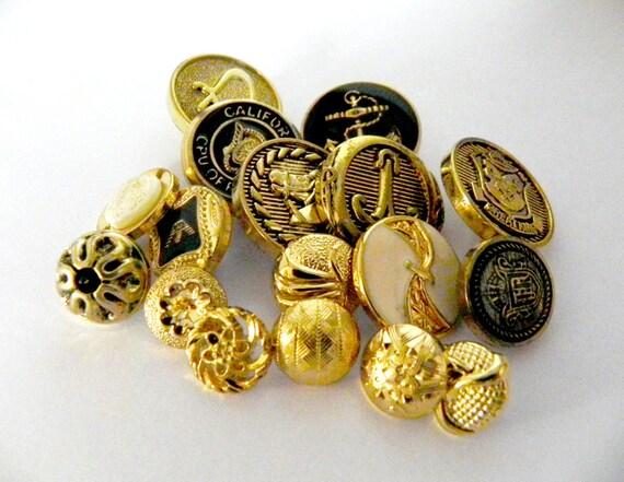 Golden and black Vintage shanks buttons - REDUCED