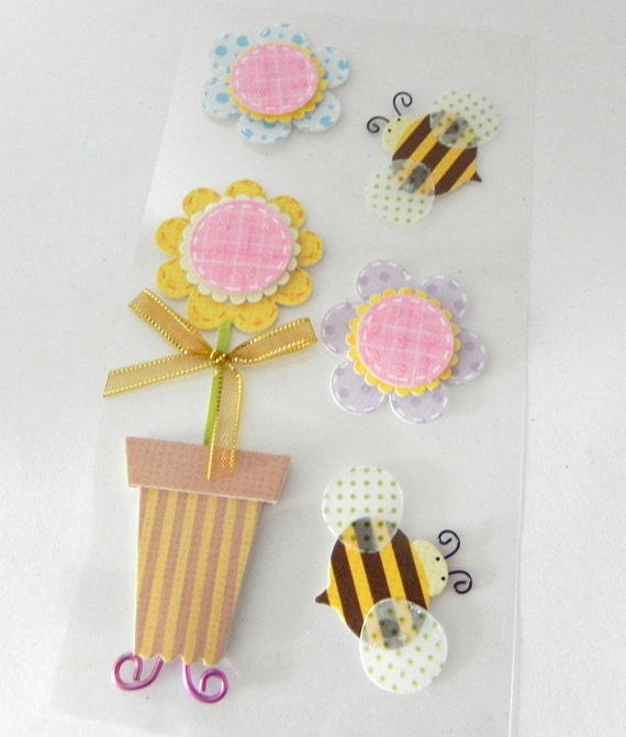Bees and Flower 3D Stickers