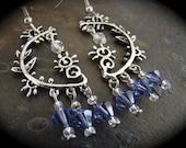 Swarovski Lavendar Crystal Sterling Plated Chandelier Earrings