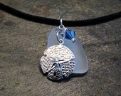 Recycled Glass - Sterling Silver Sand Dollar - Blue Crystal Pendant - with FREE black cord