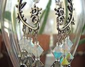 Swarovski Tri-color Crystal Sterling Plated Chandelier Earrings