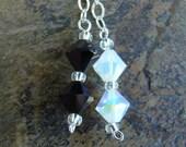 Opposties Attract - Sterling Silver link Swarovski Crystal Drop Earrings