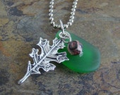 Recycled Glass - Sterling Silver Plated Leaf Charm Pendant - with FREE beaded chain
