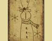 Printable - 12 Prim Sepia Snowmen Hang Tags 'n' Collage Sheet - plus 6 Lil Tags -Winter Christmas Snow Fun