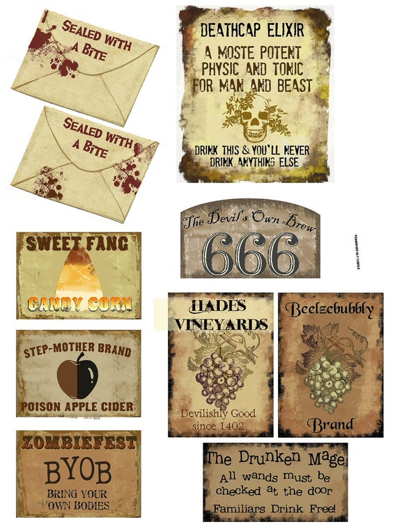 WItch Potions, Bottle Labels 20 Total U Print Halloween Tags Labels ...