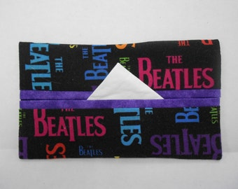 The Beatles Tissue Cozy/Gift Card Holder (purple lining)/Party Favor/Wedding Favor
