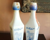 Vintage Pair of White Milk Glass Holland Liquor Bottles, With Blue Windmills & Sailboats, Tulip Caps