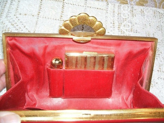 ANTIQUE 1946 Collectible RARE Chen Yu Lipstick Tube Lucky Devil, Etched, With Evans Compact And Clutch