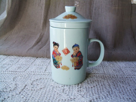 Vintage 3 Piece Japanese Porcelain Signed Teacup Infuser & Lid With Asian Girl and Boy, Gong, Fortune Cookies, Mint Green,