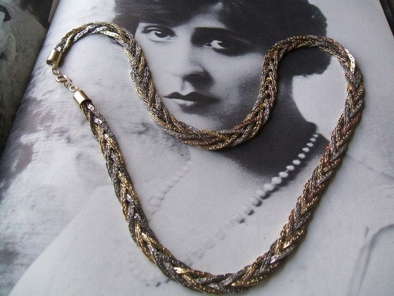Vintage 1960's Korea Signed 5 Strand Braided Necklace in Silver, Copper & Gold Toned Link Chain Metal