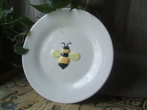 Sweet Vintage Embossed Honey Bumble Bee Plate For Your Country Kitchen, Hand Painted Bas Relief, Signed PAI, China