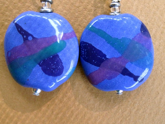 Shades of Purple Picasso Earrings - Kazuri Beads