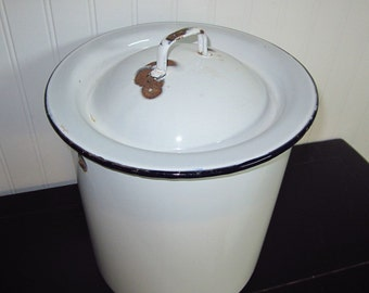 Vintage White EnamelWare with Black Trim Tall Pot with Lid