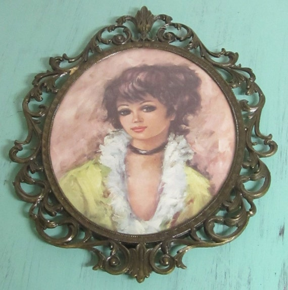 Vintage Young Woman Portrait in a Metal Scroll Frame with Glass - Made in Italy